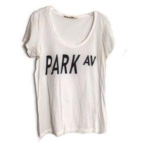"""Michael Stars """"Park Av"""" White Short Sleeve Tee OS"""
